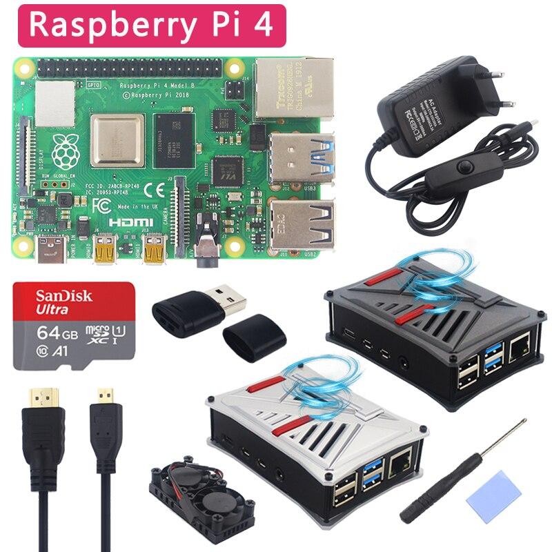 Kit d'origine UK Raspberry Pi 4 modèle B + boîtier ABS + double ventilateur + dissipateur thermique + interrupteur adaptateur d'alimentation en option 64 32 GB carte SD et lecteur