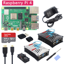 Abs-Case Power-Adapter Dual-Fan Raspberry Pi 4-Model-B-Kit Original Sd-Card Optional