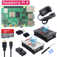Original UK Raspberry Pi 4 Model B Kit + ABS Case + Dual Fan +Heatsink+ Switch Power Adapter Optional 64 32 GB SD Card & Reader