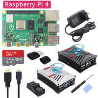 Oryginalny zestaw UK Raspberry Pi 4 Model B + etui z abs + podwójny wentylator + radiator + przełącznik zasilacz opcjonalnie 64 32 GB karta SD i czytnik