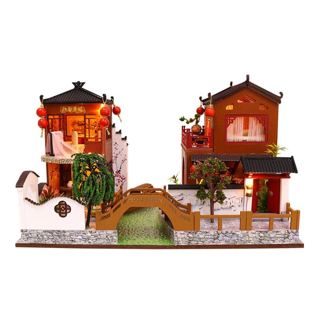 Bricolage créatif à la main thème en bois cabine assemblage bâtiment modèle jouet ensemble avec lumière et musique-poésie et Distance