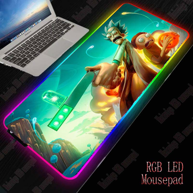 XGZ Rick And Morty RGB Computer Mousepad LED Backlight Gaming Mouse Pad Gamer Large Mause Pad USB For Keyboard Mice PC Desk Mat