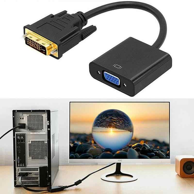 Full HD 1080P DVI-D-VGA Adaptor 24 S 1 25Pin Pria Pasangan 15Pin Wanita Kabel Converter untuk PC HD