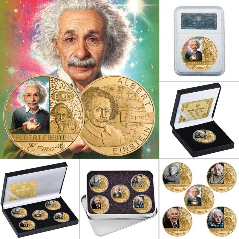 E MC2 знаменитый физик Позолоченные памятные монеты в комплекте с держателем для монет Коллекционная монета вызов образовательный сувенир п...