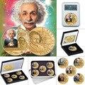 E MC2 Berühmte Physiker Gold Überzogene Gedenkmünzen Set mit Münze Halter Sammeln Herausforderung Münze Pädagogisches Souvenir Geschenk