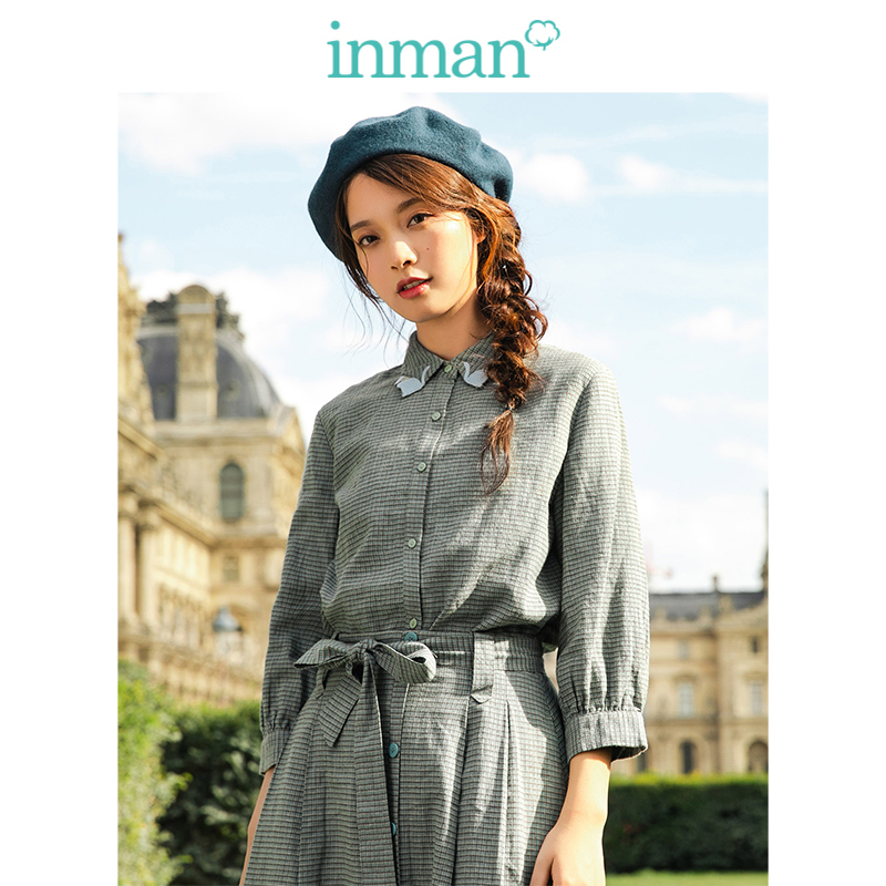 INMAN 2019 New Arrival Turn Down Collar Literary Retro Plaid English Style Casual All Matched Slim Women Blouse
