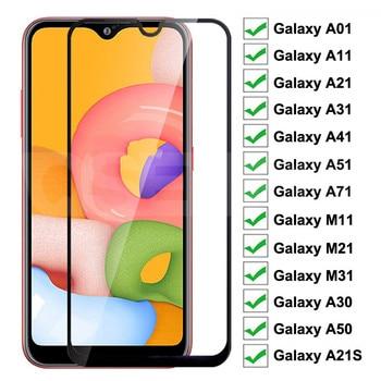 Перейти на Алиэкспресс и купить Закаленное стекло для Samsung Galaxy A01 A11 A21 A31 A41 A51 A71, Защитное стекло для экрана A21S M11 M21 M31 A30 A50
