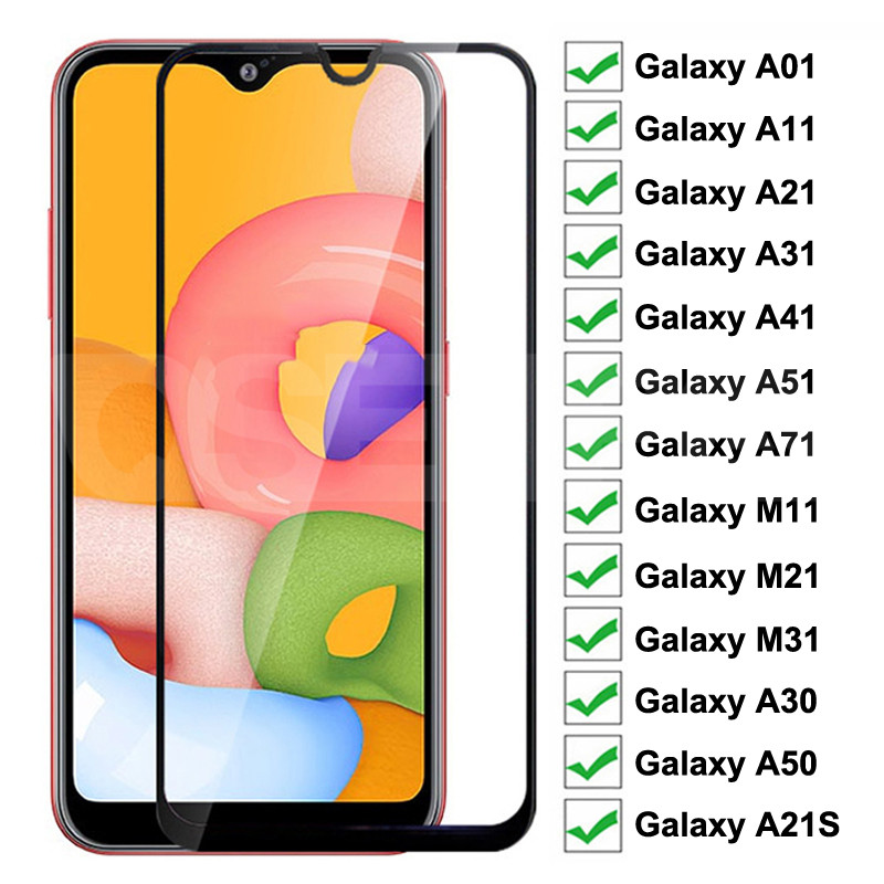 Tempered Glass For Samsung Galaxy A01 A11 A21 A31 A41 A51 A71 Screen Protector Glass A21S M11 M21 M3