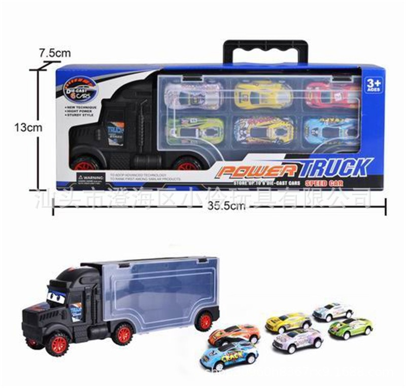 CHILDREN'S Toy Hand Alloy Car Model Container Truck 3-6-Year-Old Boy Toy Car Stall Hot Selling