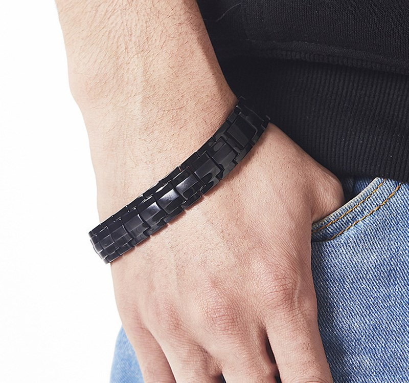 Simple Black Korean Version Fashion With Magnetic Health Room Plating Black Healthy Men's Titanium Steel Bracelet Health Jewelry