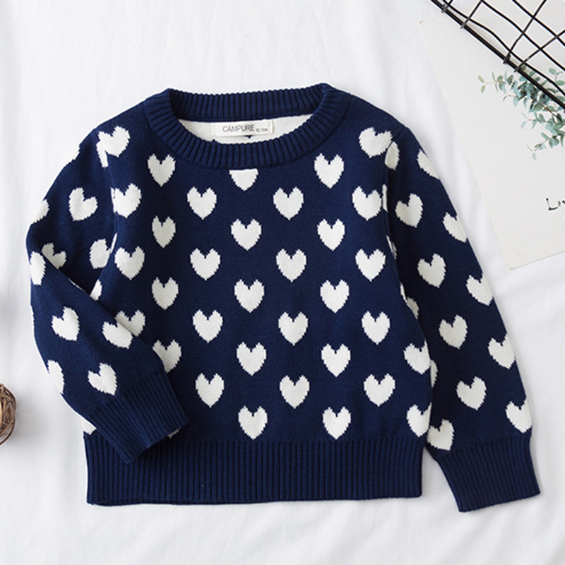 1-6Yrs New 2020 Boy Girl Long Sleeve Loving Heart Knitted Sweater Autumn Winter Boys Girls Sweaters For Baby Girls Kids Sweater 3