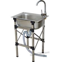 Stainless Steel Sink Single Tank With Bracket Wash Basin Kitchen Sink Simple Sink With Shelf Sink Thickened