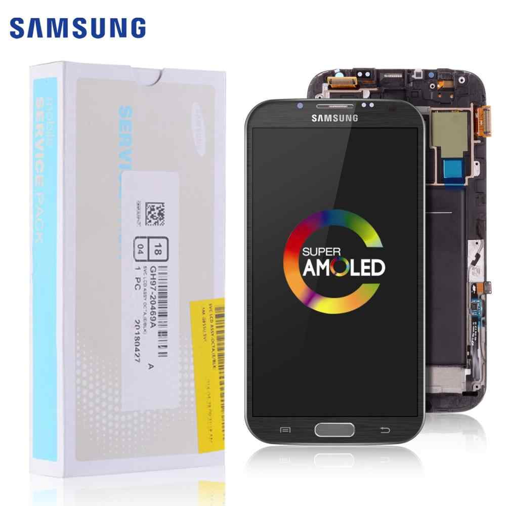 100% Original AMOLED Display für SAMSUNG Galaxy Note 2 LCD Touch Screen Digitizer mit Rahmen Ersatz Hinweis II N7105 N7100