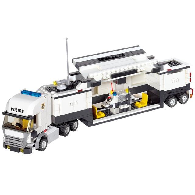 511Pcs City Police Truck Car Model Building Blocks Sets Playmobil SWAT Creator Brinquedos Bricks Educational Toys For Children