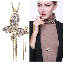 Fashion Korean Butterfly Necklace Gold Silver Long Pendant Adjustable Sweater Party Decoration Jewelry