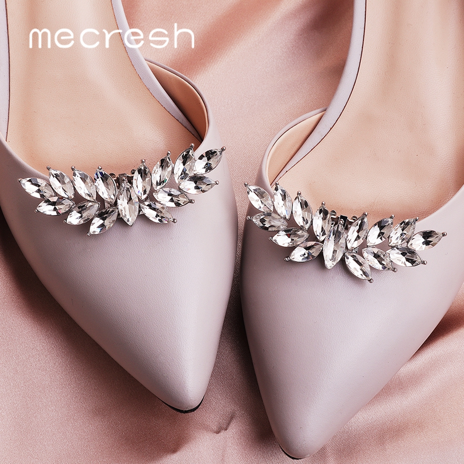Mecresh 2pcs/lot Cute Leaf Shape Crystal Bride High Heels Clips Horse Eyes Bridal Wedding Shoes Buckle Women Accessories MXK005
