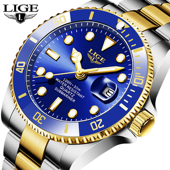 LIGE Top Brand Luxury Fashion Diver Watch Men 30ATM Waterproof Date Clock Sport Watches Mens Quartz Wristwatch Relogio Masculino fashion quartz watch men watches top brand luxury male clock stainless steel watches mens wrist watch hodinky relogio masculino