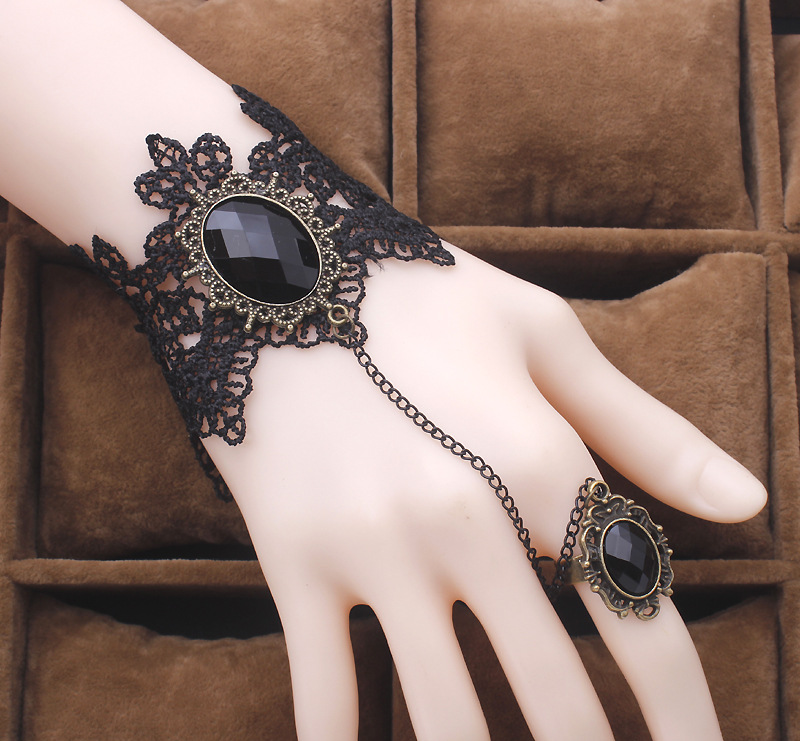 High Quality Black Lace Bracelet Finger Hand Chain Harness Women Bracelet Metal Crystal Charm Steampunk Lady Vintage Jewelry(China)