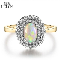HELON Solid 14K Yellow Gold & White Gold Oval 7x5mm Genuine Opal Diamonds Ring For Women Wedding Party Fashion Fine Jewelry Ring