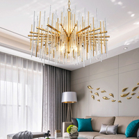 LED Crystal Chandelier Lights Modern Golden Round Lamp Stainless Steel Chain Chandeliers Lighting For Kitchen Restaurant Lights