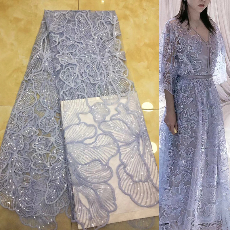New Bud Silk Cloth Sequined Embroidered Fabric Wedding Dress Sequin Cloth