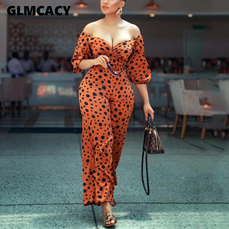 Women Off Shoulder Long Sleeve Wide Leg Leopard Printed Wide Leg Jumpsuit Sexy & Club Chic Plus Size Jumpsuits