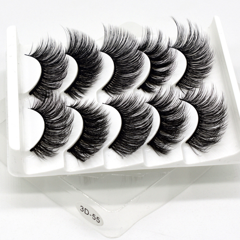 Mink eyelashes 5 pairs of handmade 3d mink lashes natural eyelashes extended beauty makeup false eyelashes 5