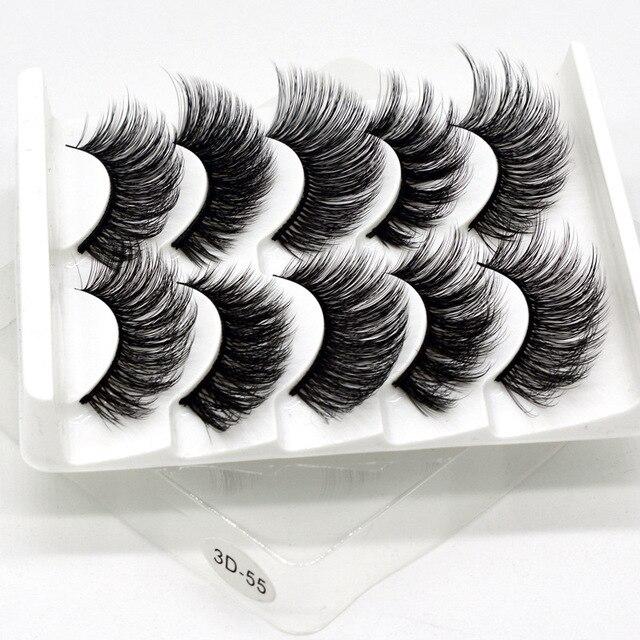 Mink eyelashes 5 pairs of handmade 3d mink lashes natural eyelashes extended beauty makeup false eyelashes 5