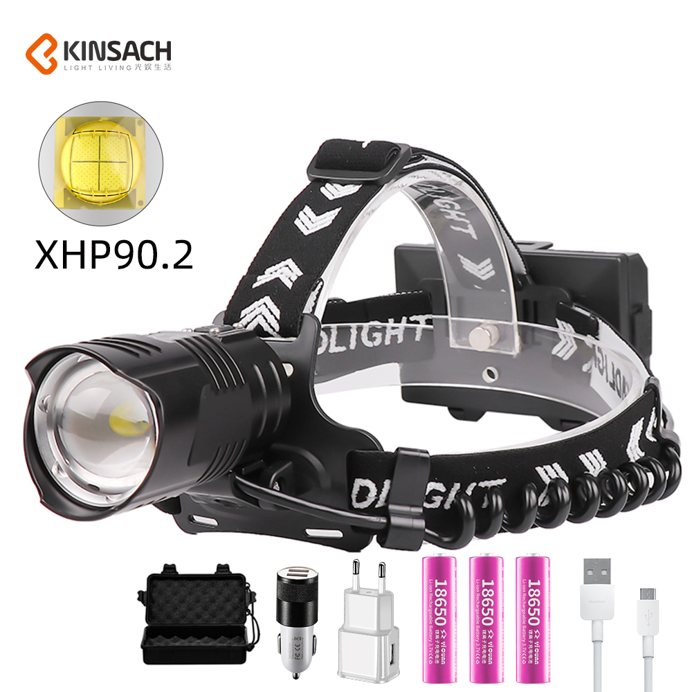 2020 New XHP90 High Power Head Lamp USB Rechargeable Zoom Hunting Head Lamp With The Power Display Charging Treasure Function