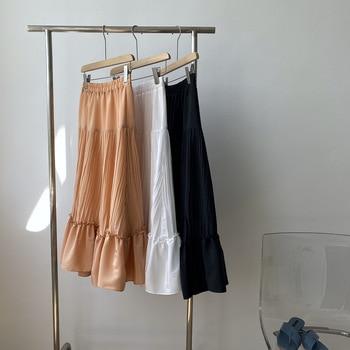 HXJJP Women's Summer Skirt 2020 New Solid Color Pleated Skirt High-waisted Cake Skirt White Loose Skirt ruffle trim high waisted high low skirt