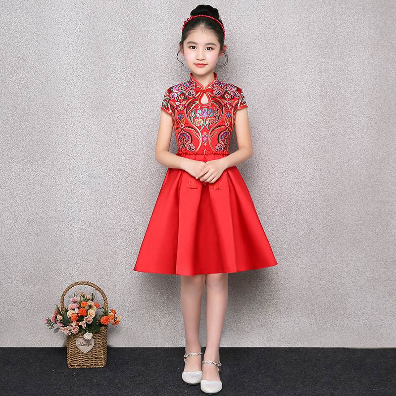 Children Cheongsam Girls 2019 New Style Autumn And Winter Red Guzheng Chinese-style Princess Dress Chinese Costume Evening Gown