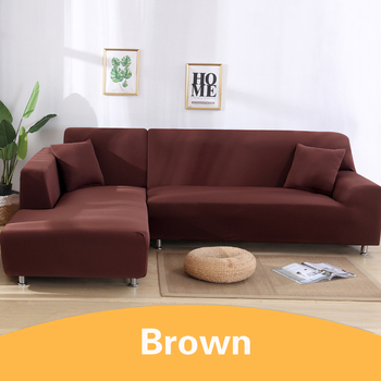 2Pcs Sofa Cover for Living Room Couch Cover Elastic L Shaped Corner Sofas Covers Stretch Chaise Longue Sectional Slipcover - light coffee, 3-Seat and 3-Seat
