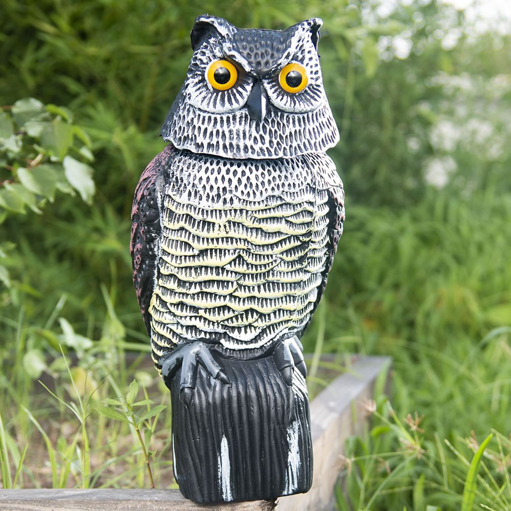 Outdoor Large Realistic Owl Decoy with Rotating Head Bird Pigeon Crow Scare Scarecrow Pest Simulation Plastic Protects Garden