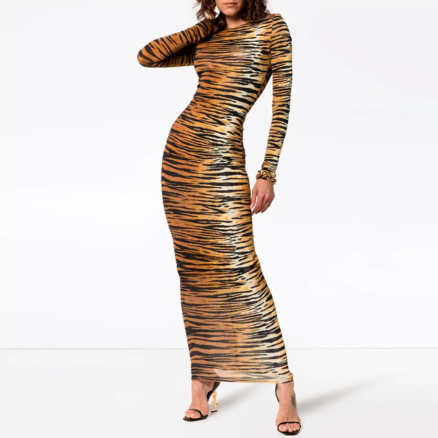 Kylie jenner Inspired Long Tiger Print Jersey Dress Brown and Black Printing Maxi Dress 1