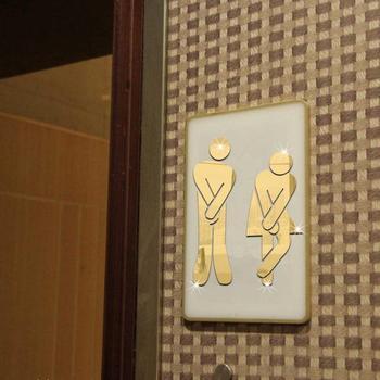 3D toaleta wejście znak lustro naklejka ścienna znak na drzwi toalety mężczyźni kobiety czarne złoto srebro wodoodporna naklejka ścienna Home Decor nowość tanie i dobre opinie Liplasting Naklejka ścienna o lustrzanej powierzchni Nowoczesne Do płytek For Wall Naklejki łazienkowe Naklejki na meble