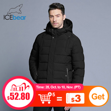 ICEbear 2019 new mens winter  jacket warm detachable hat male short coat fashion casual apparel man brand clothing MWD18813D