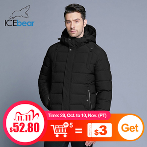 Image 1 - ICEbear 2019 new mens winter  jacket warm detachable hat male short coat fashion casual apparel man brand clothing MWD18813D