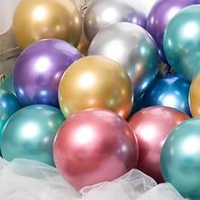 20pcs Metallic Gold Silver Green Purple Ballon Wedding Happy Birthday Latex Balloons Metal Chrome Balloon Air Helium Baloon