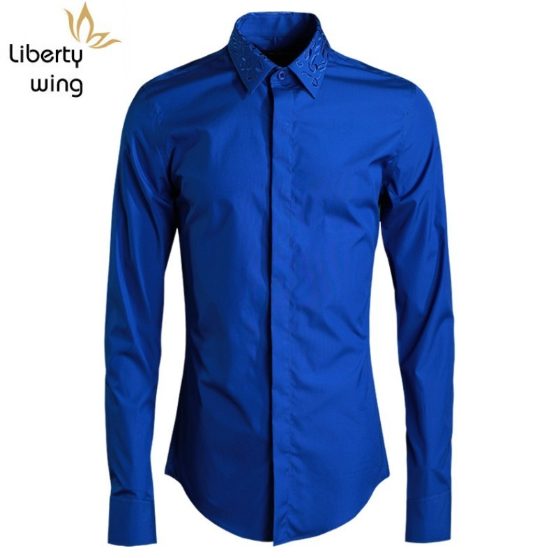 Brand Fashion Mens Exquisite Jacquard Collar Embroidery Shirts Male Blue White Men Luxury Shirt Man Top Large Size 48