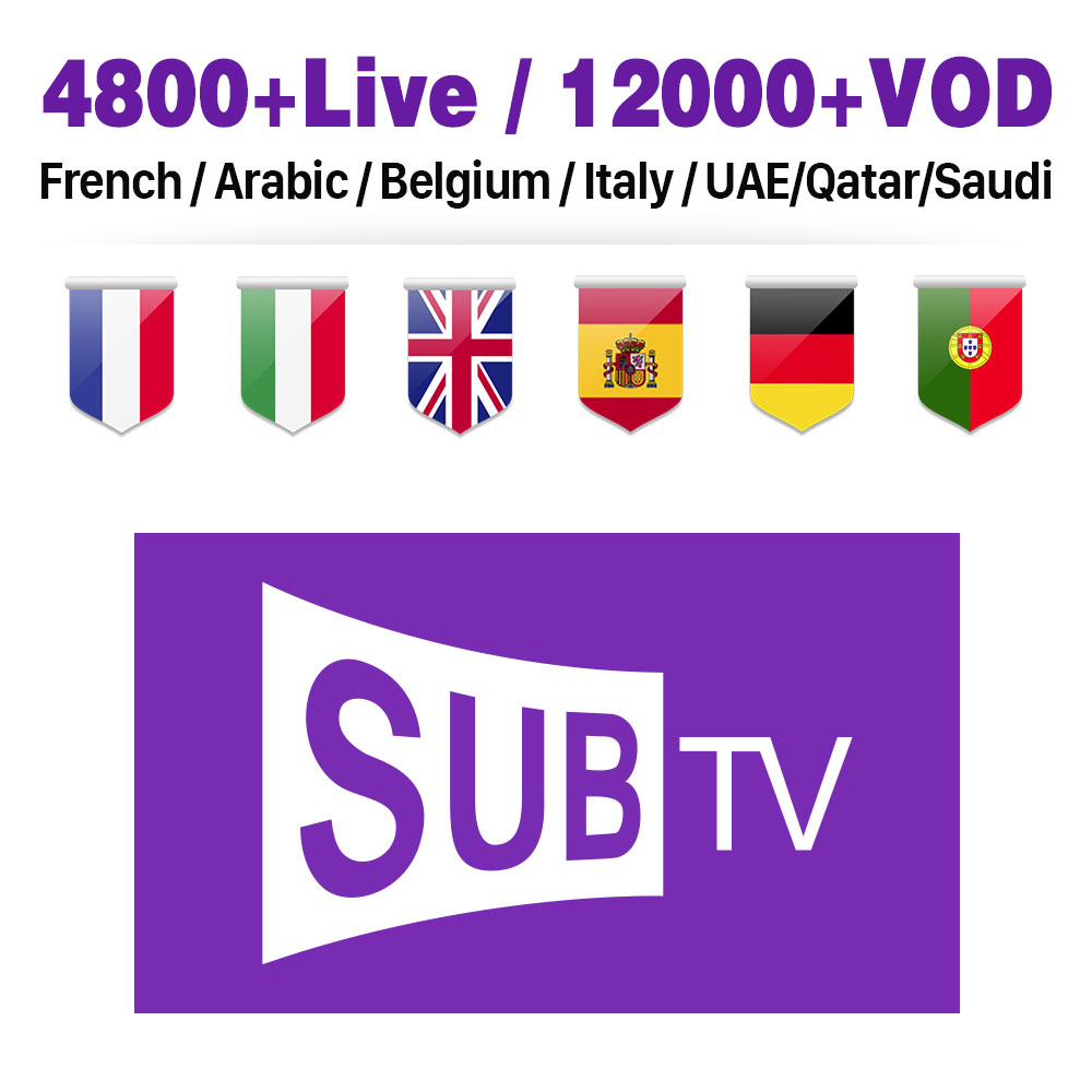 IPTV France Arabic Belgium Italy 1 Year SUBTV IPTV M3U Subscription Portugal Spain Netherlands IP TV Code IPTV France Arabic in Set top Boxes from Consumer Electronics