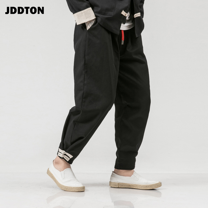JDDTON Men's Cotton Harem Solid Pants Harajuku Loose Casual Chinese Style Leisure Streetwear Fashion Hip Hop Male Trousers JE134