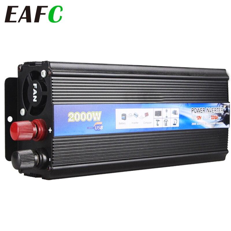 Onduleur de voiture 2000W, 12v, 220v DC vers 220V AC, convertisseur de tension de voiture, avec chargeur USB, pour téléphone, tablette et PC