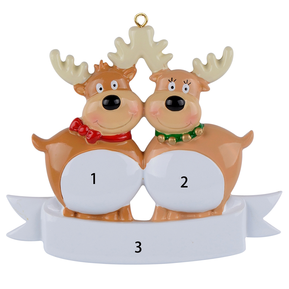 Sweet reindeer family of 2 3 4 5 6 7 polyresin glossy personalized Christmas tree ornaments gifts or for home decoration