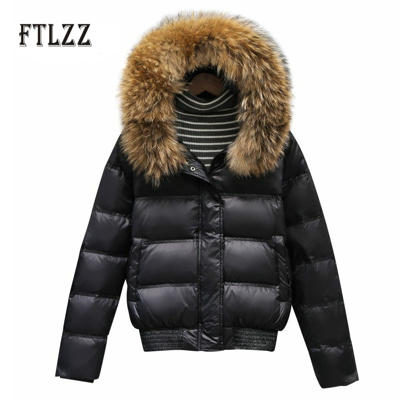 White Duck Donw Jacket Overcoat Women Winter Thicken Warm Outerwear 2019 New Fashion Hooded Hat Real Fur Collar Short Coats