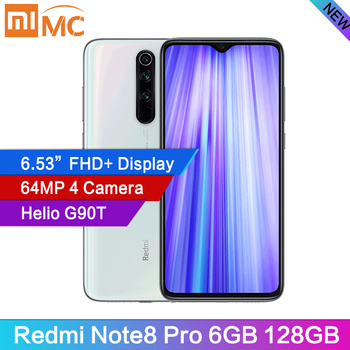 Original Redmi Note 8 Pro 6GB RAM 128GB ROM 64 MP Quad Cameras MTK Helio G90T Smartphone 4500mAh 18W QC 3.0 UFS 2.1 NFC