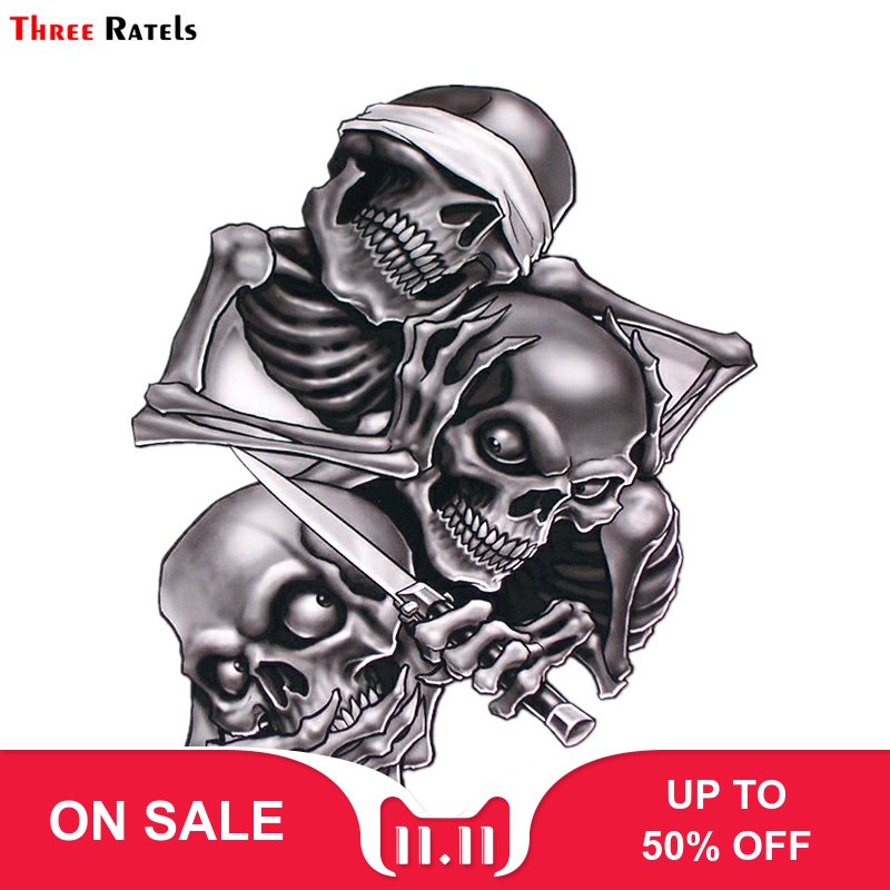 Three Ratels TZ 1330#17.3*15cm see nothing hear nothing say nothing Hear Speak See No Evil Skull car stickers funny car sticker-in Car Stickers from Automobiles & Motorcycles