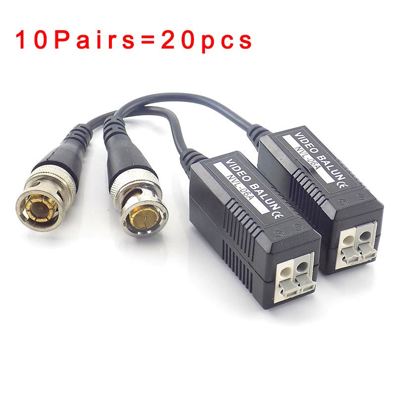 10pair Passive Dvr Cctv Video Balun Twisted Video Transceiver Connector Utp Bnc Balun 2000Ft Distance With Bnc Cable Tail J17