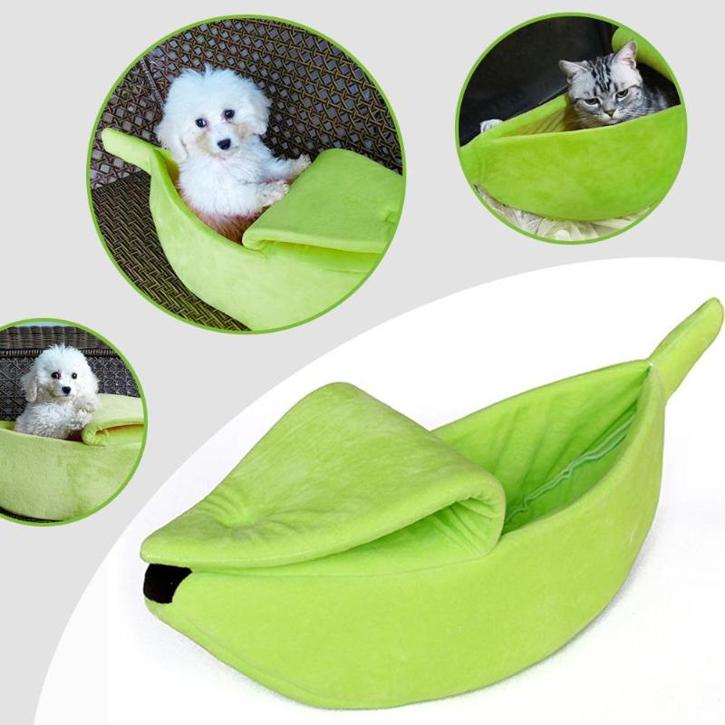 Cute Banana Shape Cozy Cat Nest Kennel Warm Pets Bed House Dog Puppy Mat Basket Fashion Beautiful Warm and Comfortable thumbnail