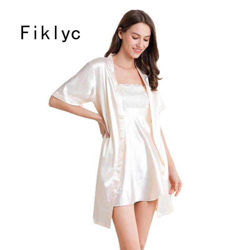 Fiklyc Underwear Sexy Women's Robe & Gown Sets Satin Bathrobe + Night Dress 2 Pieces Sleepwear Womens Sleep Set Faux Silk Robe