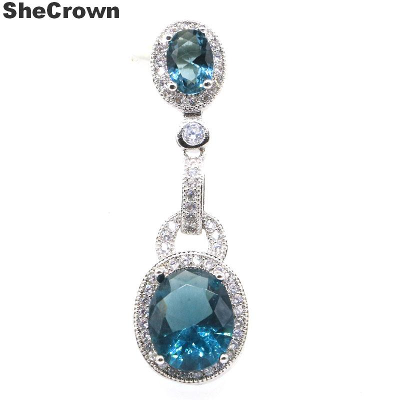 39x12mm Elegant London Blue Topaz White CZ Ladies Present 2019 Hot Sell 925 Silver Pendant